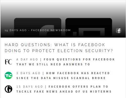 Facebook News Room Screenshot in Social Layer